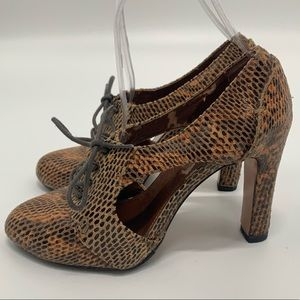 7 For All Mankind Snakeskin Leather Heels (37.5)